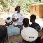 The Water Project: Lokomasama, Conteya Village -  Hygiene Facilitator Teaching About Latrines