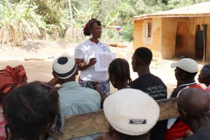 The Water Project:  Hygiene Facilitator Teaching About Latrines