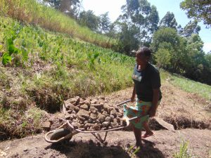 The Water Project:  Woman Delivers Stones To Construction Site