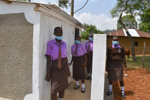 The Water Project:  Girls At Their New Latrines