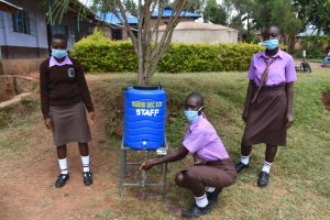 The Water Project:  Girls At A Handwashing Point