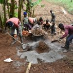 The Water Project: Mukhonje B Community, Peter Yakhama Spring -  Mixing Mortar