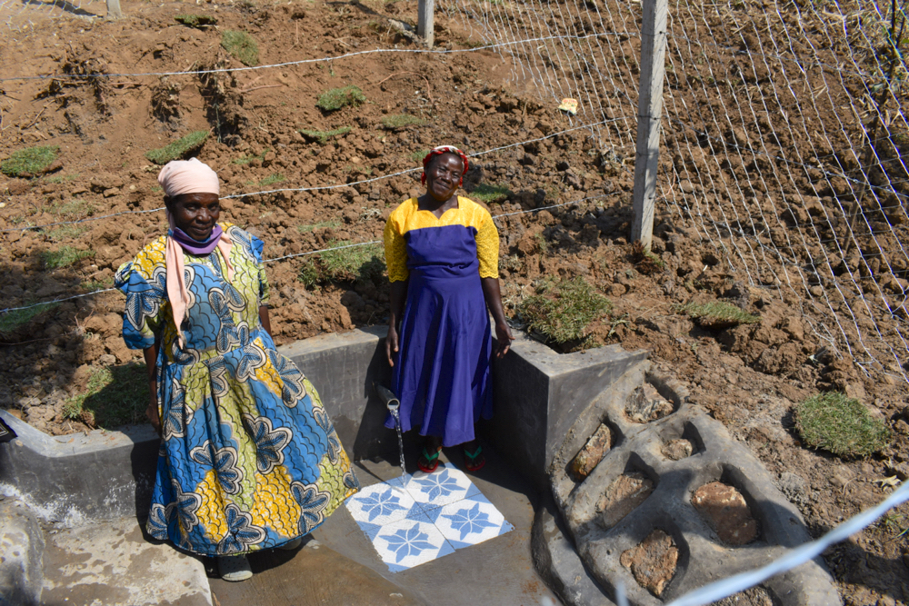 The Water Project : kenya21024-women-posing-at-the-spring