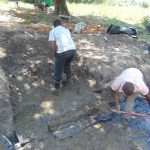 The Water Project: Makhwabuyu Community, Sayia Spring -  Setting The Concrete Foundation
