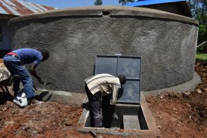 The Water Project:  Plastering The Tank Drawing Point