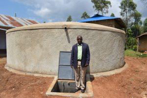 The Water Project:  Principal Julius Kidambu At The Rain Tank