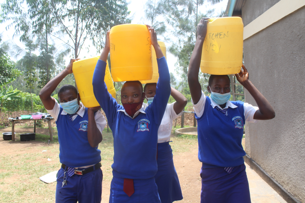 The Water Project : kenya21356-students-carrying-water-2-2