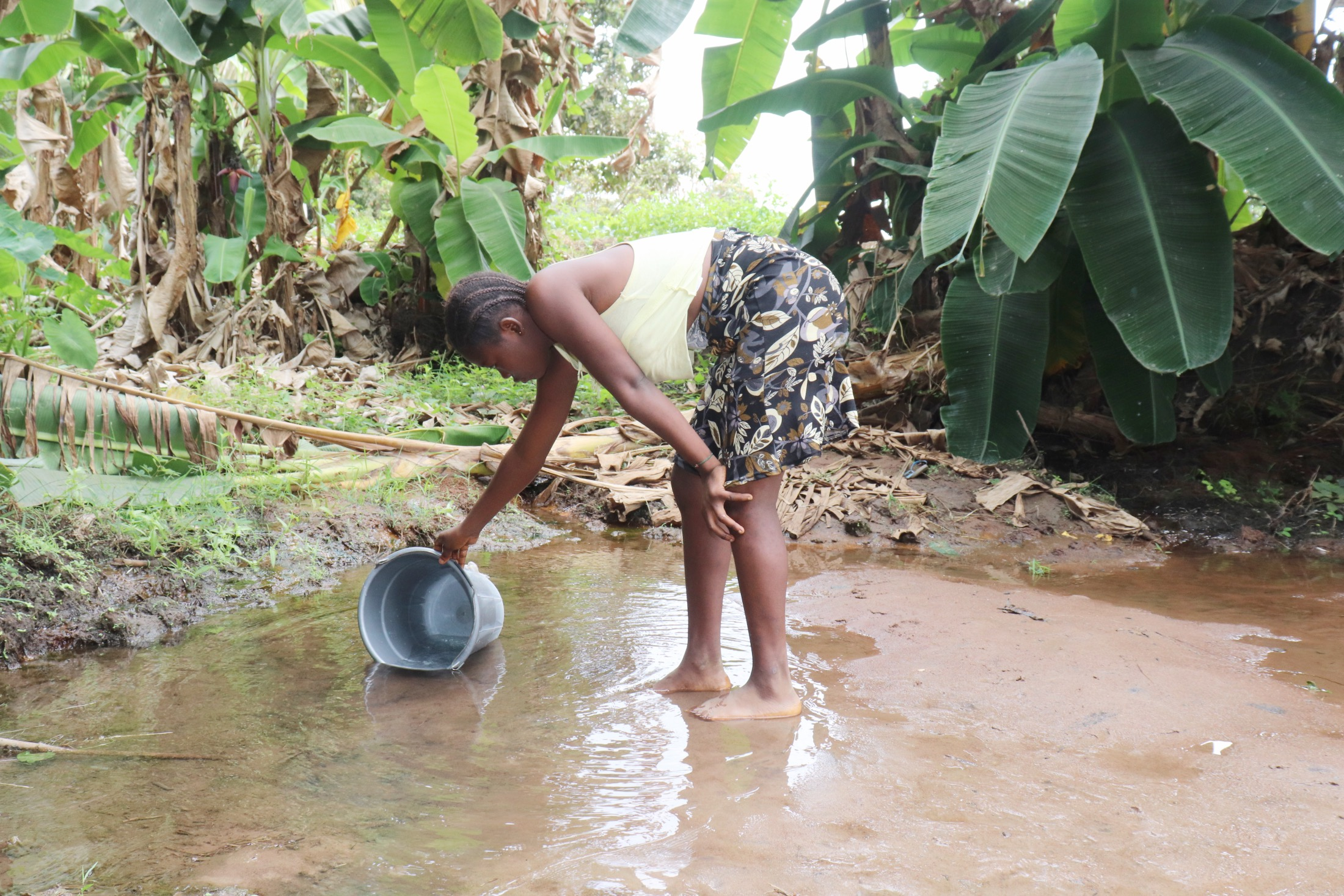 The Water Project : sierraleone21511-small-girl-collecting-water