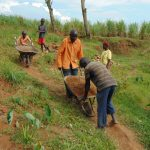 The Water Project: Shihome Community, Oloo Njinuli Spring -  Community Members Deliver Sand To The Worksite