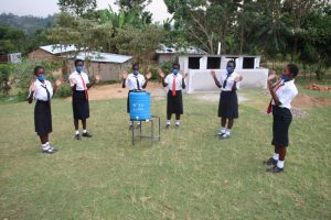 The Water Project:  Girls At Their New Handwashing Station