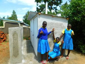 The Water Project:  Girls Pose At New Latrines