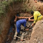 The Water Project: Shianda Commnity, Mukeya Spring -  Wall Construction