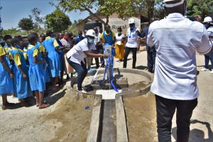 The Water Project:  Field Officer Janet Celebrates Water From The Well