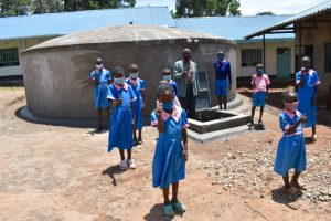 The Water Project:  Children And Teacher Gives Thumbs Up At The Rain Tank