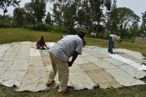 The Water Project:  Sewing The Sugarsacks To The Dome Frame