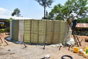 The Water Project:  Sugarsacks In Place Ready For Plastering