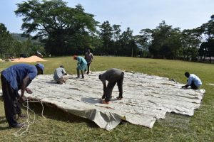The Water Project:  Sewing Sugarsacks Onto Dome Frame