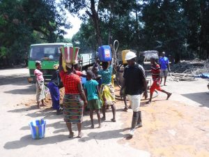The Water Project:  Community Members Fetching Water For Drilling