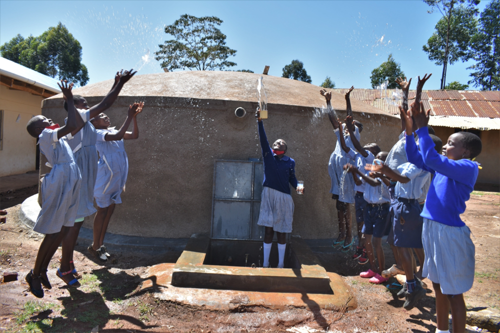 The Water Project : kenya21217-pupils-celebrating-at-the-tank