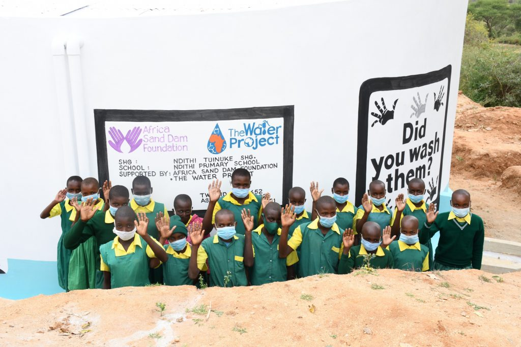 The Water Project : kenya21452-students-at-the-tank-2