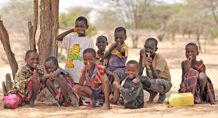 Kids with clean water in Kenya