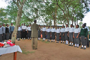 Church choir celebrating new water projects