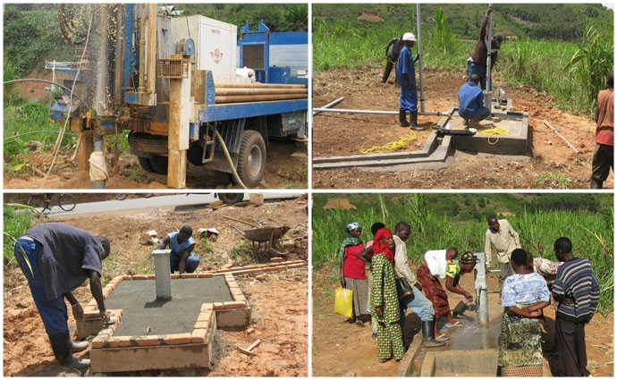 Rwanadan water well under construction